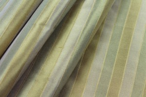 Wide Striped Silk Dupion - Gold and Green