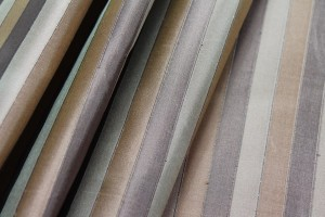 Wide Striped Silk Dupion - Browns