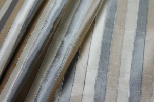 Wide Striped Silk Dupion - Beige and Black