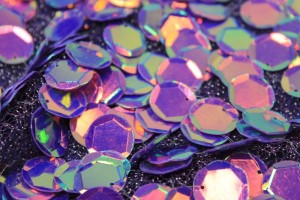 Iridescent Purple Disc Sequin on Mesh