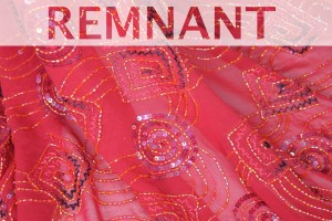 REMNANT - Spiral Beaded and Sequinned Red Chiffon - WHOLE PIECE