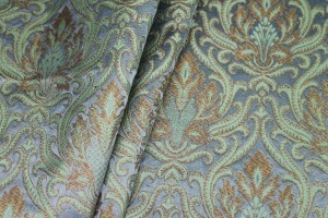 Heavy Banaras Brocade - Dusty Blue/Mint and Gold