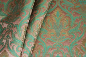 Heavy Banaras Brocade - Peach/Mint and Gold