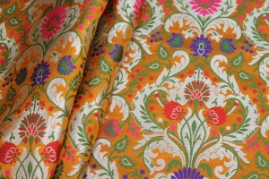 Heavy Banaras Brocade - Golden Orange/Multi