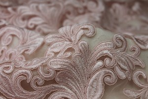 Corded Embroidered Tulle - Pink - Double Scallop