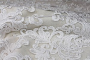 Corded Embroidered Tulle - White - Double Scallop