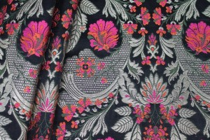 Heavy Banaras Brocade - Black and Pink/Gold