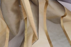Wide Satin Stripe Silk Organza - Golds
