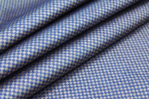 Blue and Gold Small Check Brocade