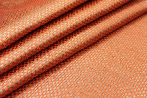Orange and Gold Small Check Brocade