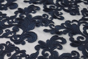 Corded Embroidered Tulle - Navy - Double Scallop