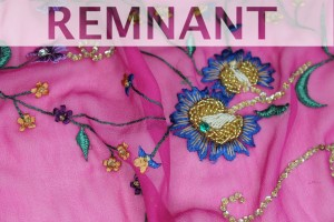 REMNANT - Pink Chiffon with Multi Coloured Floral Embroidery - 0.6m piece