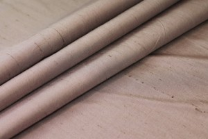 "Silk Dupion - ""Moroccan Brown"" Brown shot Pale pink"