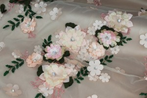 3D Flowers and Beading on Tulle - Pale Pink
