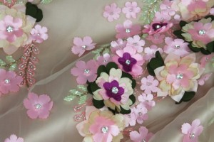 3D Flowers and Beading on Tulle - Pink
