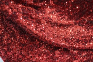 Overlapping Micro Sequin On Silk Chiffon - Red