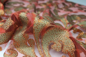 Glitter Swirl Tulle - Green/Copper/Rust