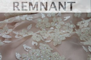 REMNANT - Glitter Flowers on Tulle - Ivory - 0.35m piece