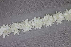 3D Cut Out Flowers with Pearls Trim - Ivory