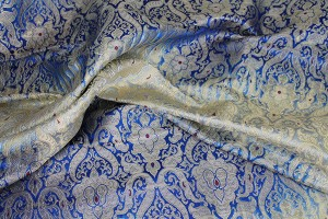 Heavy Banaras Brocade - Navy Ivory Ombre with Gold and Red