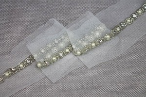 Silver Beads, Pearls and Diamante Trim in Silver