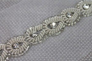 Beaded Diamante Zari Coil Trim in Silver