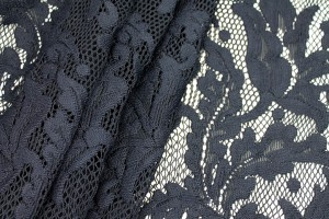 Navy Swirl Lace on Fishnet