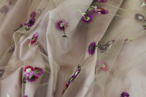 Floral Embroidered Tulle - Pinks and Purples on Nude