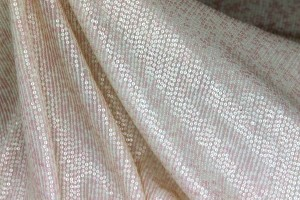 Micro Sequin On Silk Chiffon - Pale Pink and Cream