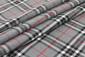 Wool Tartan - Grey, White, Red, Black