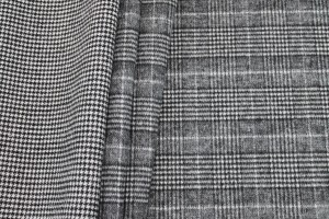 Double Sided Checked Houndstooth Wool - Grey, Black and White