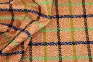 Checked Wool - Orange Green and Blue