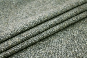 Silk and Wool Mix Tweed - Grey Green
