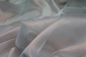 Foil Printed Silk Chiffon - Rose Gold on Ivory
