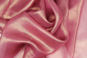Foil Printed Silk Chiffon - Gold on Berry Pink
