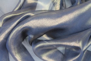 Foil Printed Silk Chiffon - Gold on Navy