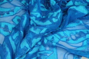 Cut-back Silk Lurex Chiffon - Blue/Turquoise
