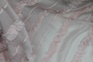 Silk georgette w/Diagonal Frill/Stripe - Pale pink