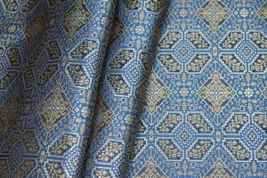 Banaras Brocade - Blue Gold and Black