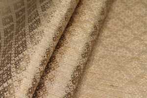 Banaras Brocade - Straw & Gold Geometric