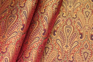 Banaras Brocade - Red Orange and Black