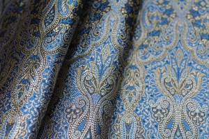 Banaras Brocade - Blue Black and Gold