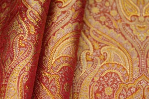 Banaras Brocade - Red Orange and Gold