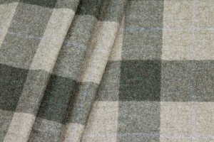 Checked Wool Flannel - Green and Beige