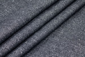 Wool Suiting - Navy and Grey Small Herringbone