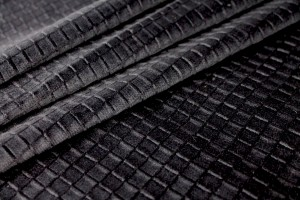 Embossed Squares on Cotton Velvet - Black