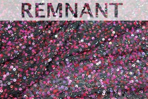 REMNANT - Beaded and Sequinned Silk Chiffon - Plum on Black
