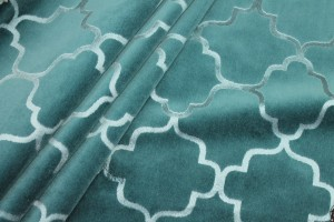 Teal Embossed Cotton Velvet