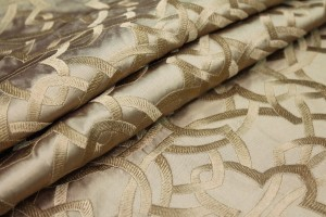 Geometric Embroidered Silk Dupion - Gold