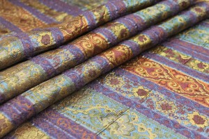 Patterned Stripe Brocade - Rust/Olive/Purple